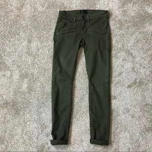 VINCE Olive Green SKINNY Mid Rise MOTO JEANS 26